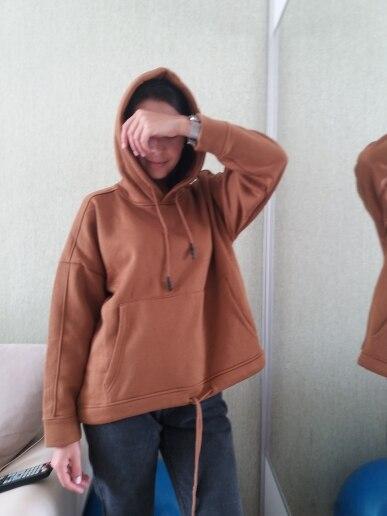 Women Harajuku Cotton Hoodies Solid Patchwork Pockets Regular Oversize Sweatshirt Plus Size Tops Hoodies photo review