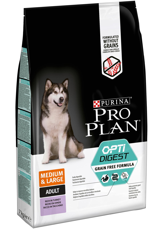 Pro Plan GrainFree Сухой корм для взрослых собак средних и крупных пород с чувствительным пищеварением, Индейка, 7 кг