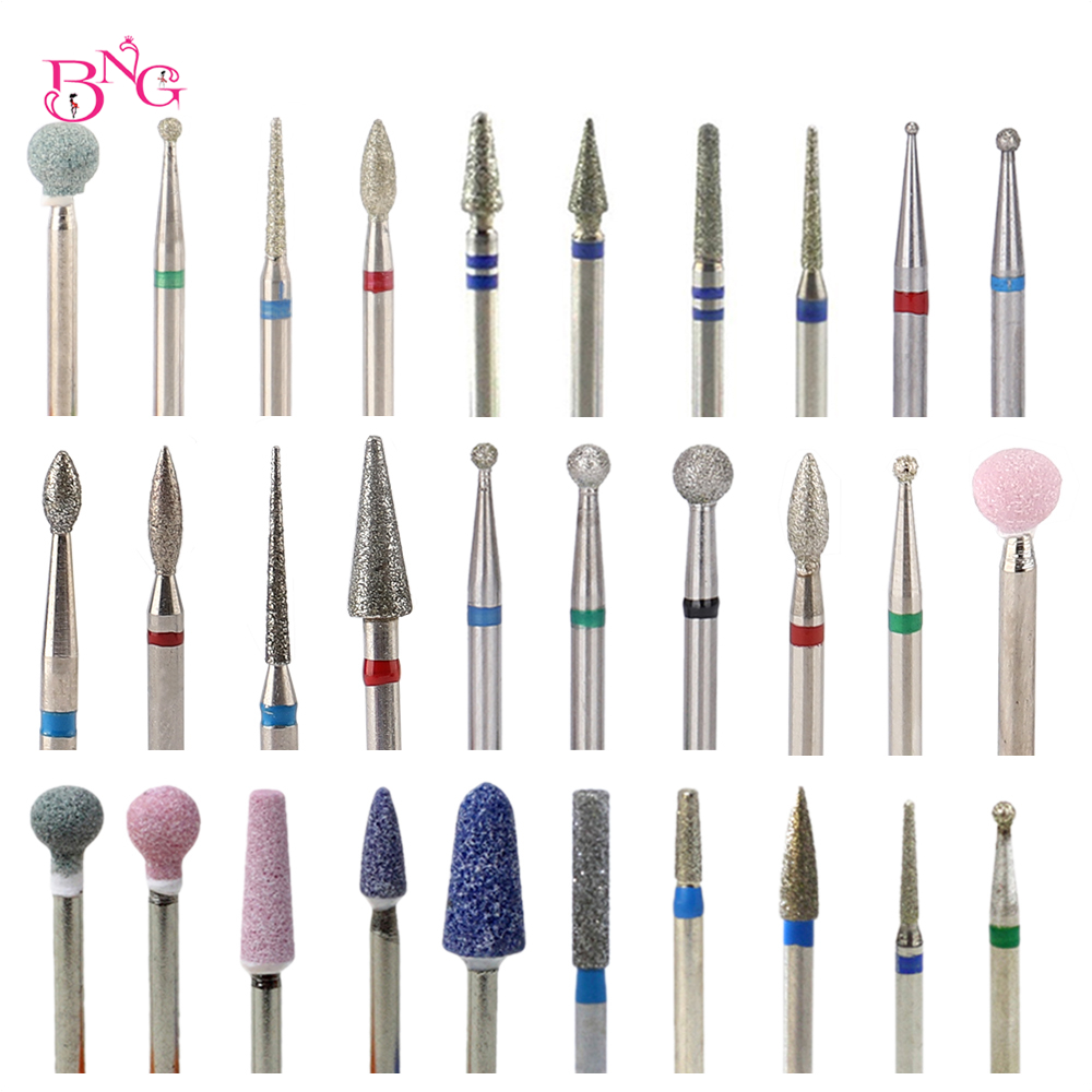 BNG Diamond Milling Cutters For Manicure Rotary Nail Drill Bit Bits Eletric Pedicure Machine Equipment Cuticle Remove Tools Box