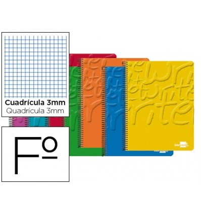 SPIRAL NOTEBOOK LIDERPAPEL FOLIO WRITE SOFTCOVER 80H 60 GR TABLE 3MM WITH MARGIN COLORS ASSORTED 10 Units