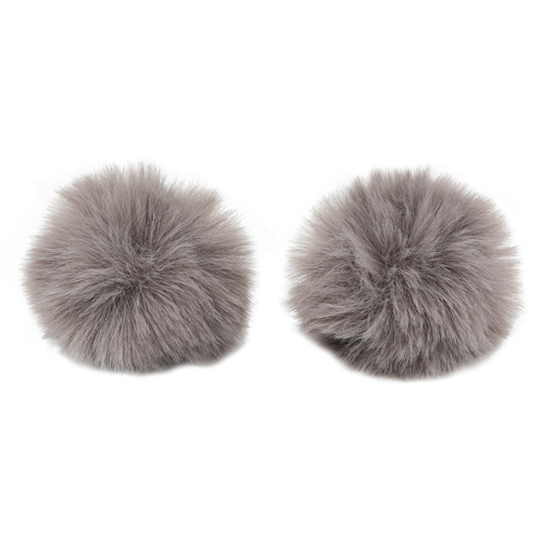 Pompon Made Of Artificial Fur (rabbit), D-6cm, 2 Pcs/pack (H Gray)