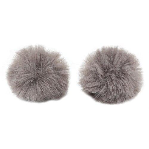 Pompon Made Of Artificial Fur (rabbit), D-6cm, 2 Pcs/pack (H Gray)