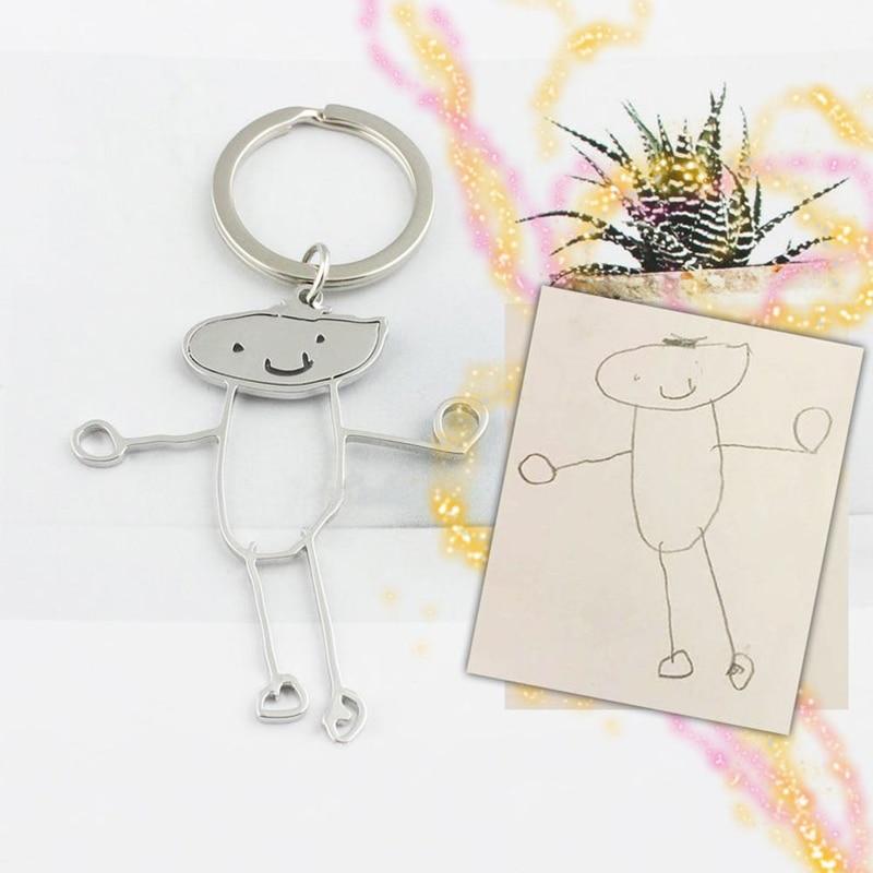 Custom Kids Drawing Gold Silver Key Chain Personalized Child Drawing Keychain Kids Art Keychain Christmas Gift