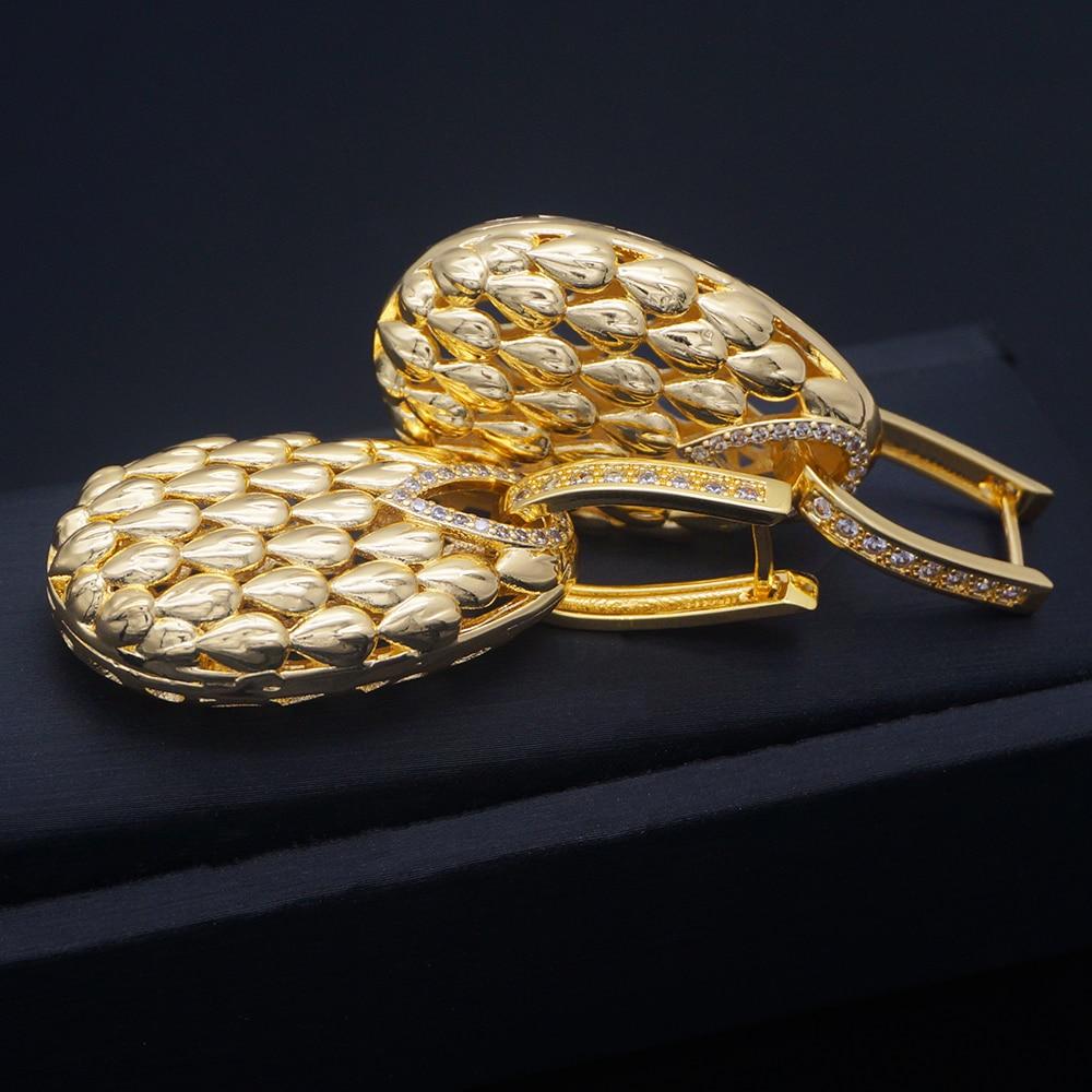 Hollow Drops Dangle Earrings Trendy Cubic Zircon Wedding Engagement Party Indian gold earrings for women 2020