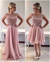 Vestitos De Gala 2 Em 1 New Fashion Prom Dresses 2019 Sleeveless Beads Dresses Chiffon Formal Party Dresses Short Dress Prom