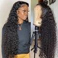 28 30 дюймов глубокая волна фронтальные парики для черных женщин человеческие волосы кудрявые 13х4 бразильские Remy влажные и волнистые воды вол...
