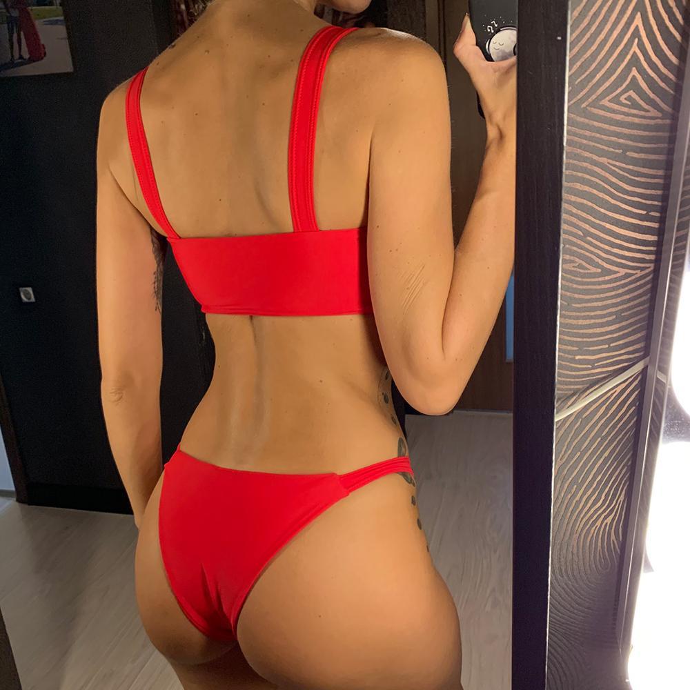 Sexy 2019 Bikini Women Swimwear Female Swimsuit Two-pieces Bikini set Bandeau Bather Adjustable Straps Bathing Suit Swim V879