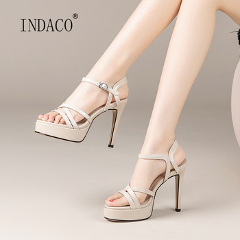 Women Sandals Summer Shoes Ladies Sandals Leather High Heels White Black Sandals 2020 New Summer