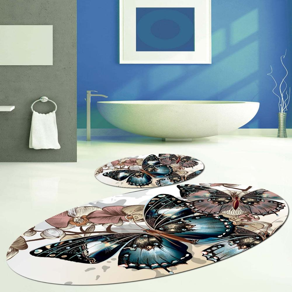 Else Blue Butterfly ดอกไม้สีน้ำตาลรูปไข่ 2 Pcs 3D รูปแบบพิมพ์เสื่ออาบน้ำ Anti SLIP Soft Washable ห้องน้ำห้องน้ำพรม
