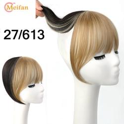 MEIFAN 탑 헤어 피스 에어 뱅스 클립 헤어 뱅스 프린지 보이지 않는 매끄러운 살아있는 합성 자연 Bangs Hairpieces