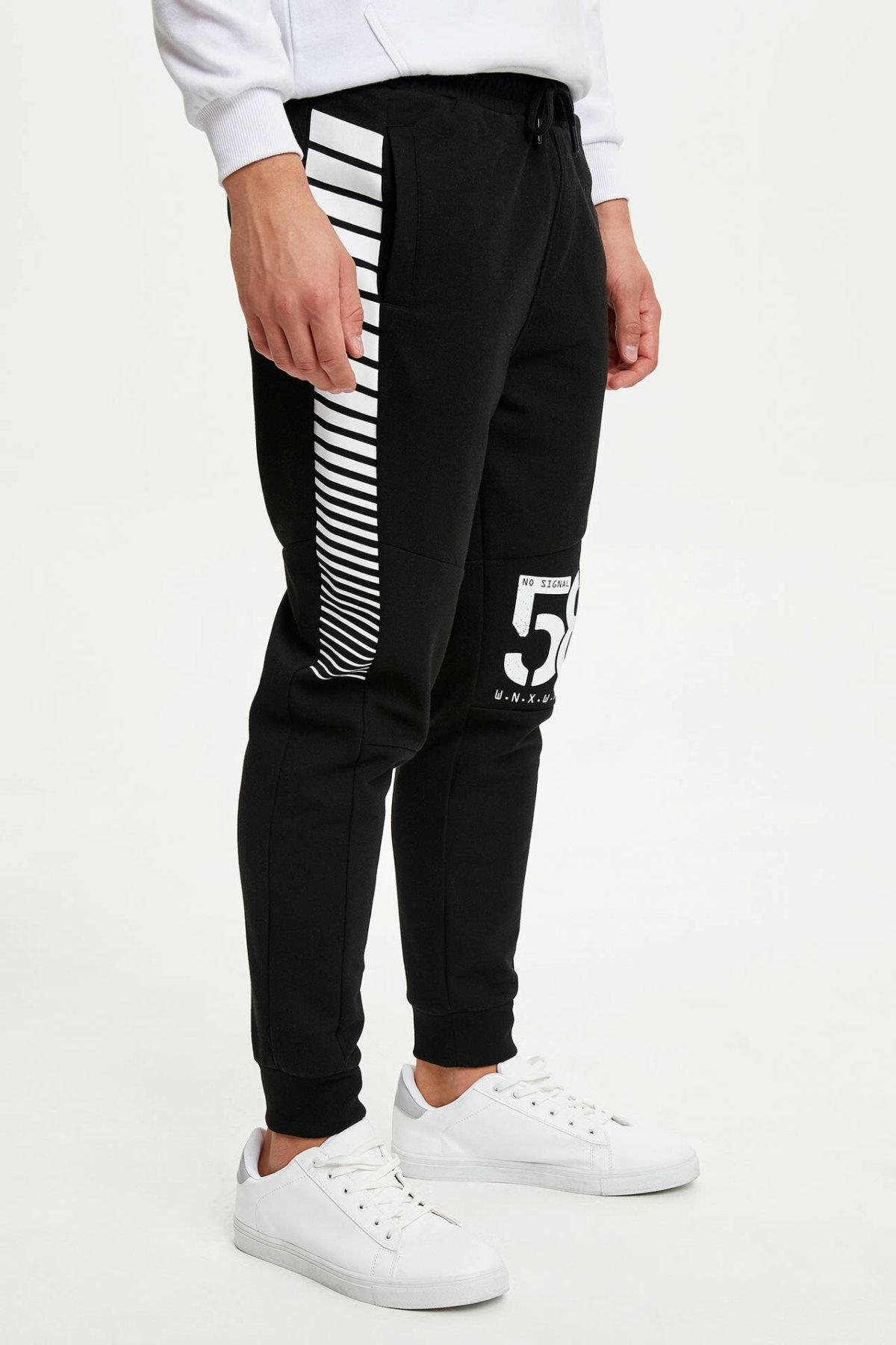 DeFacto Man Sports Long Trousers Men Casual Mid-wait Casual Loose Black Long Pants Letter Design Men's Bottoms-L1800AZ19AU