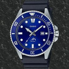 Для мужчин, часы для дайвинга с оптическими зумом Casio MDV-106B-2A марлина Жесткий Ремень резиновый синий циферблат резинкой дайверов