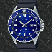 Men's watch diving Casio MDV-106B-2A MARLIN hard strap rubber Blue dial rubber band divers watch