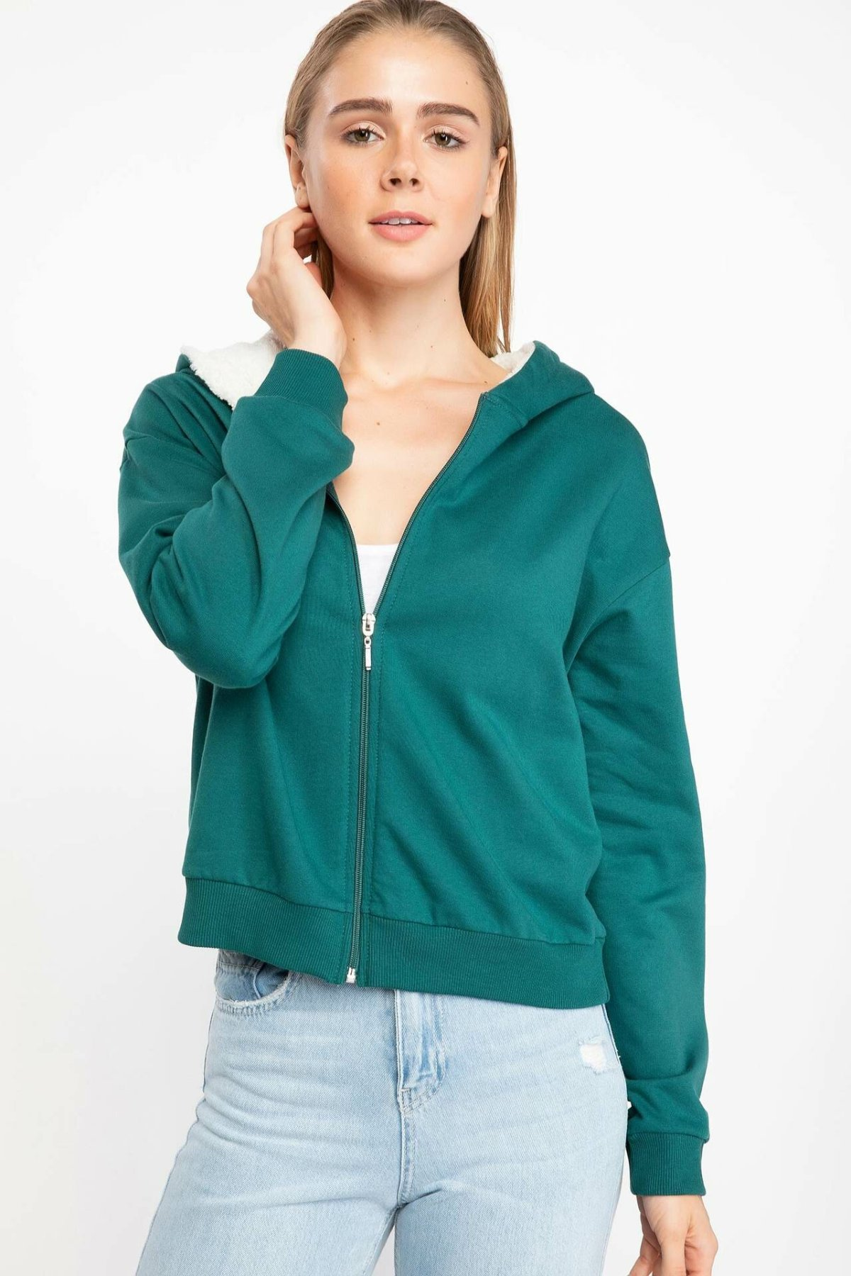 DeFacto Woman Autumn Green Color Tops Hoodies Women Casual Hooded Coats Women Thick Warm Sweatshirts Coat-J6800AZ18AU