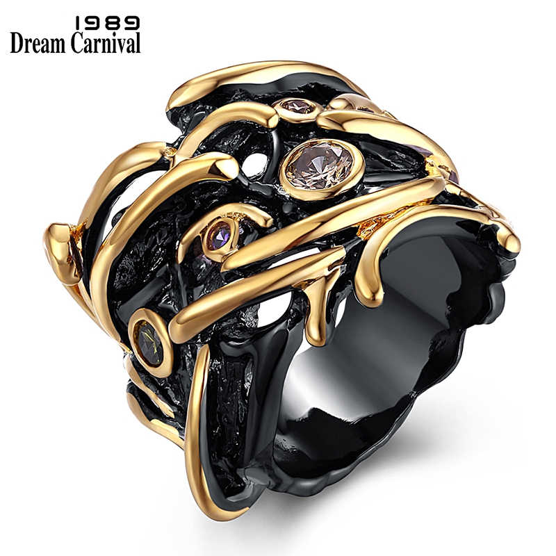 DreamCarnival 1989 Hip Hop Ring For Women Gothic Unique Black Gold Color Party Gift CZ Street Fashion Jewel Anillos Mujer Ringen