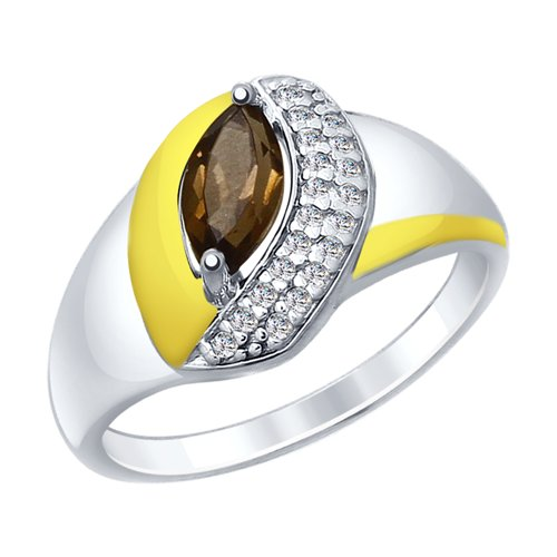 SOKOLOV Ring Gilded With Silver And Rauchtopaz Fianitami