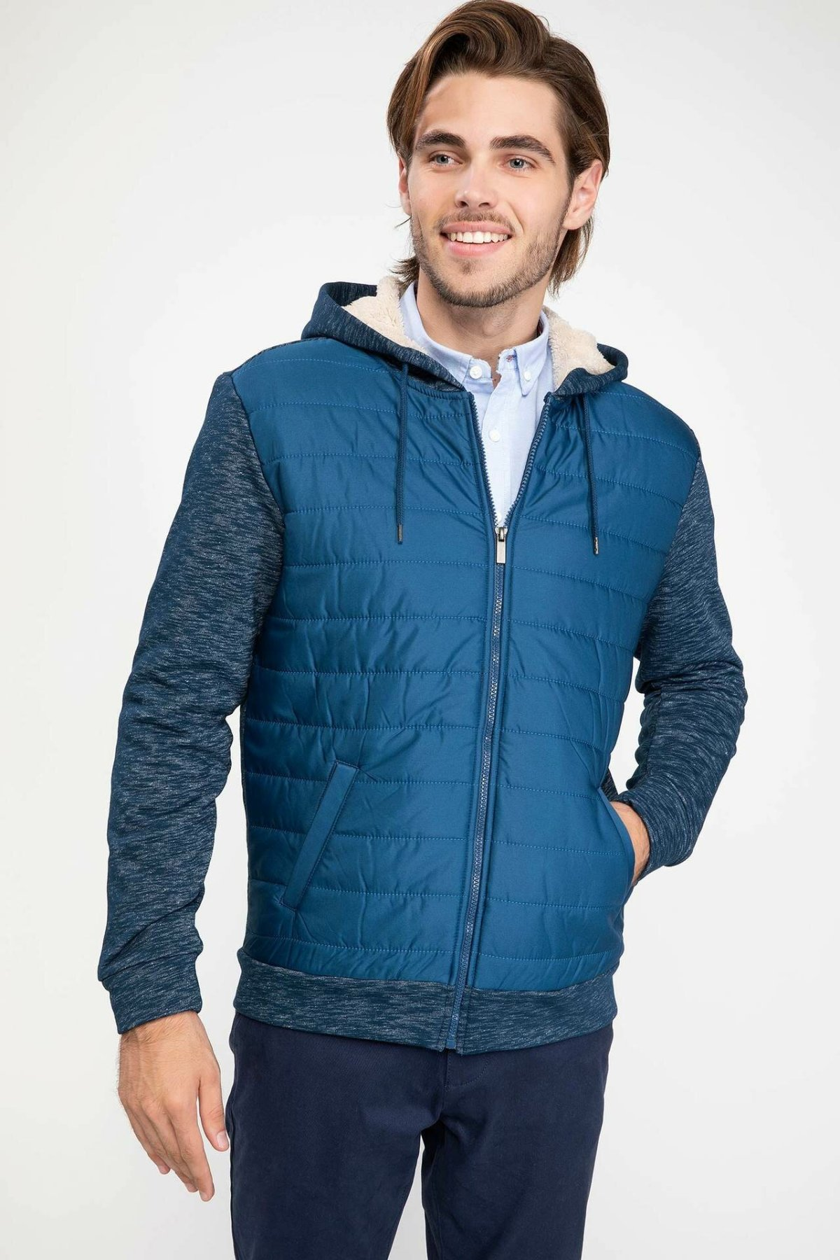DeFacto Man Winter Down Coat Hooded Cardigan Men Solid Color Top Coats Navy Blue Green Color/ Bolero-H1876AZ18WN