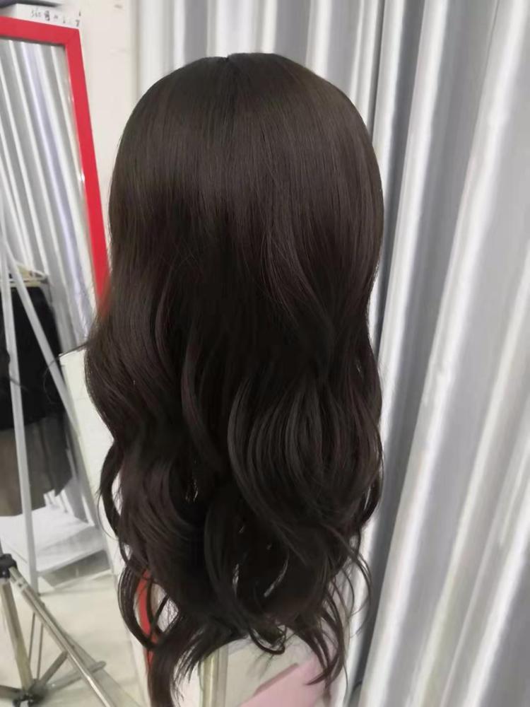 Front Lace Wig Fashion Cabelo Sintético Franja Castanho Médio 65cm photo review