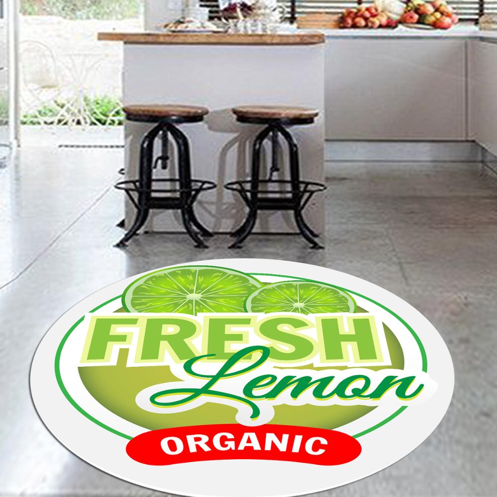 Else Green Lemons Fresh Fruits 3d Pattern Print Anti Slip Back Round Kitchen Carpets Area Rug For Living Rooms