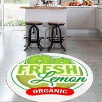 Else zielone cytryny świeże owoce 3d wzór wydruku antypoślizgowe powrót okrągłe dywaniki kuchenne dywan do składania salony w Dywany od Dom i ogród na