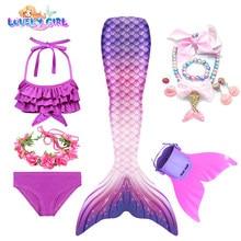 Lovelygirl sereia caudas nadadeiras trajes da sereia crianças sereia vestido menina sereia festa cosplay trajes sereia monofin