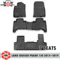 Tappetini per Toyota Land Cruiser Prado 150 2013 ~ 2019 7 SEDILI tappeti antiscivolo poliuretano sporco di protezione interni car styling