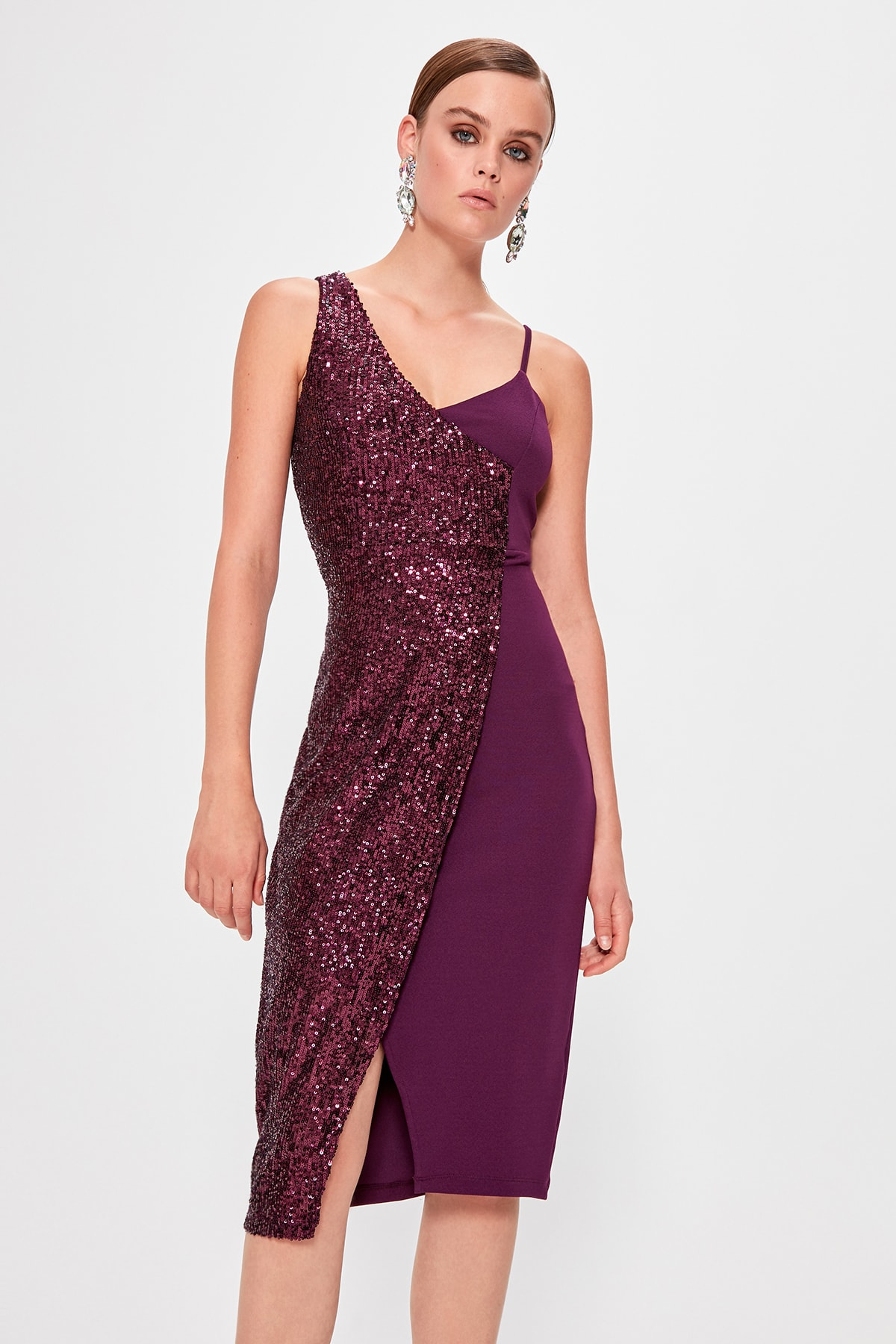 Trendyol Double Breasted Sequined Dress TPRSS19YL0007