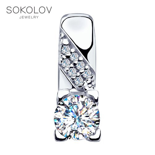 Pendant SOKOLOV Silver With Swarovski Crystals Fashion Jewelry 925 Women's/men's, Male/female