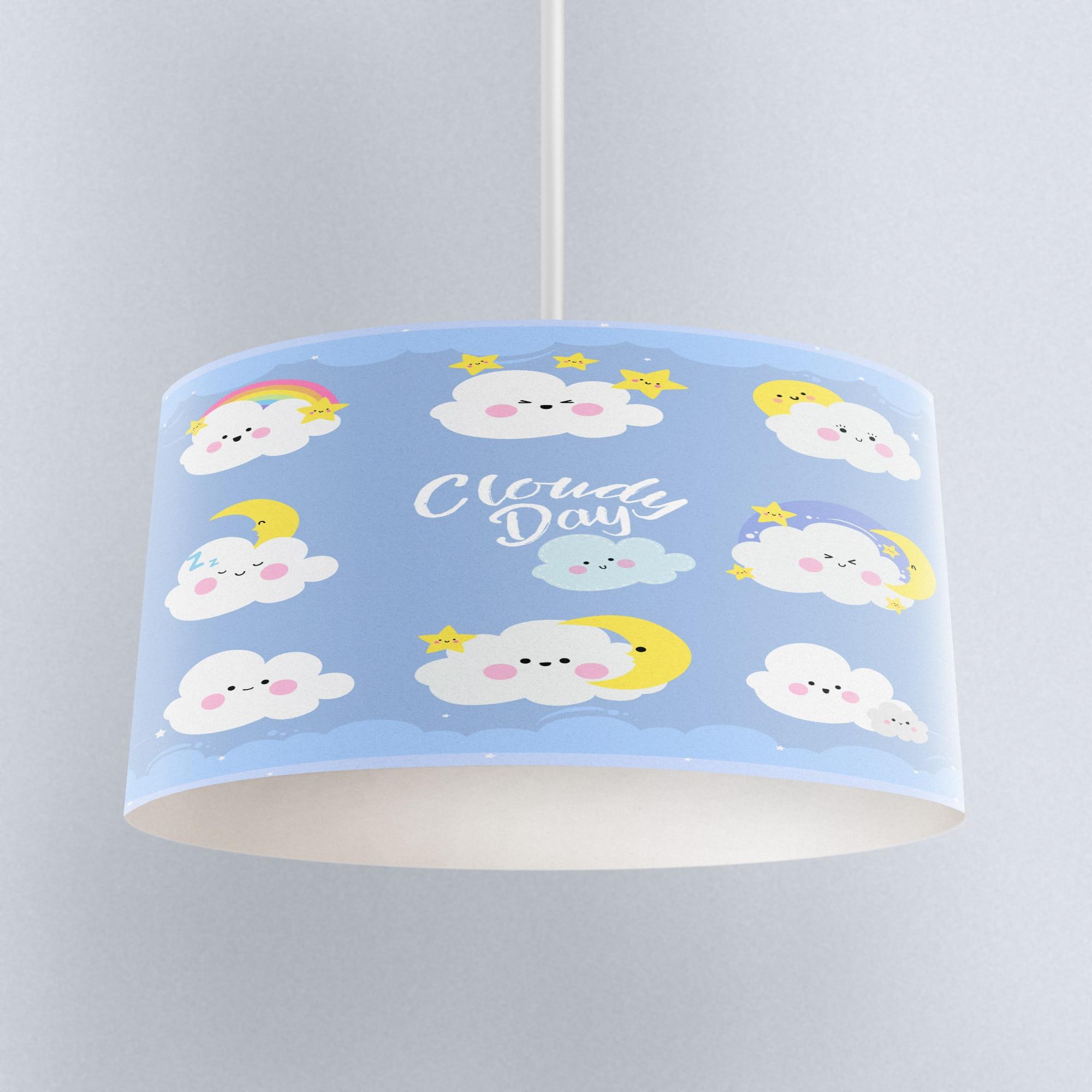 Else Blue Sky Funny Clouds Sleep Time Print Fabric Kids Chandelier Lamp Drum Lampshade Floor Ceiling Pendant Light Shade