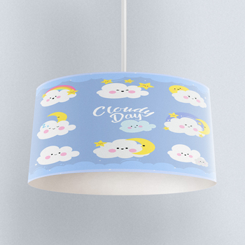Else Blue Sky Funny Clouds Sleep Time Print Fabric Kids Chandelier Lamp Drum Lampshade Floor Ceiling Pendant Light Shade