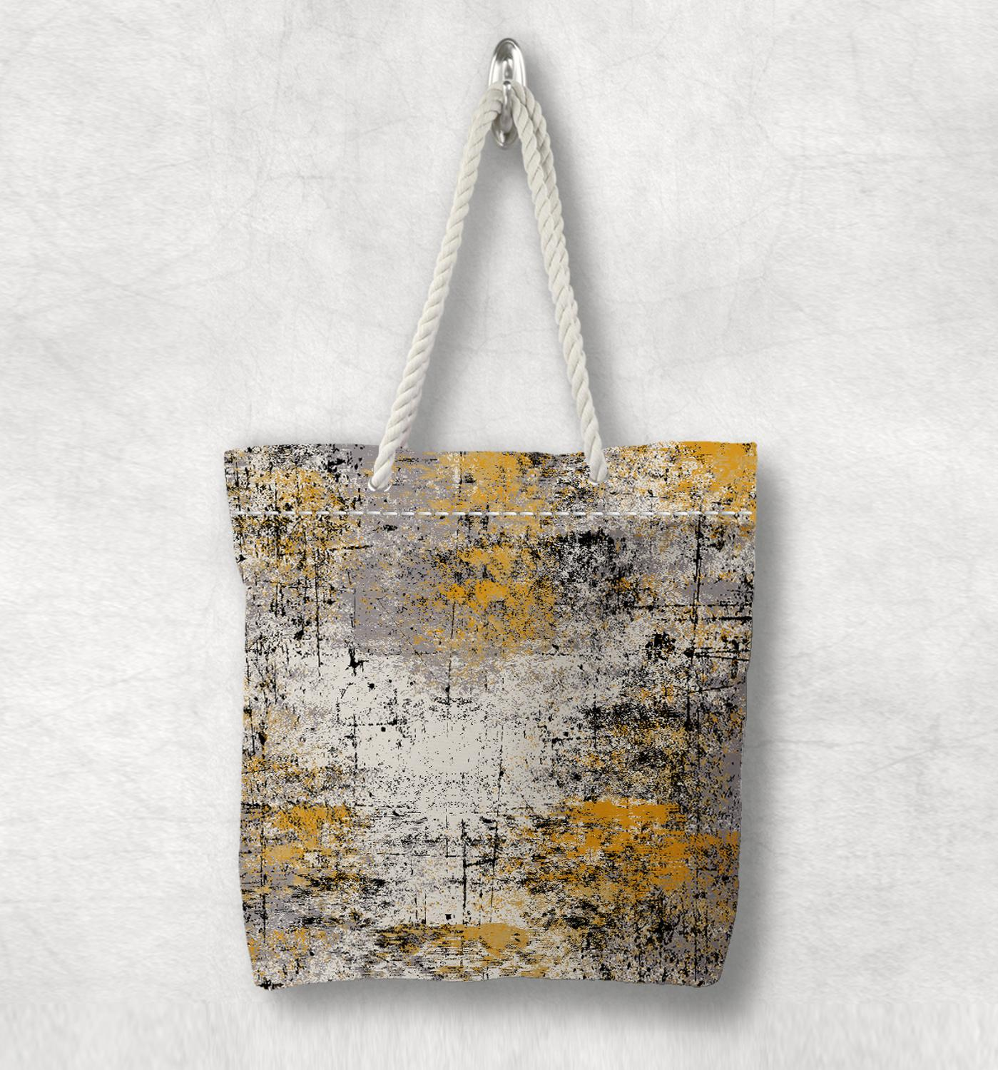 Else Yellow Gray Black Abstract Painting New Fashion White Rope Handle Canvas Bag Cotton Canvas Zippered Tote Bag Shoulder Bag
