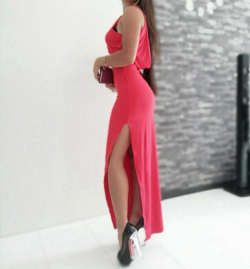 Deep V Neck Party Maxi Dress Women Backless High Split Spaghetti Strap Long Bodycon Club Sexy Dress Summer Vestidos Red photo review