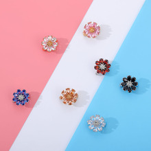 Badges Corsage Crystal Sunflower Pins Brooches For Women Jewelry With Gift Box Multicolor Rainbow Sunflower Wedding Bouquet Pin crystal sunflower brooches lapel pins for women corsage scarf dress decoration