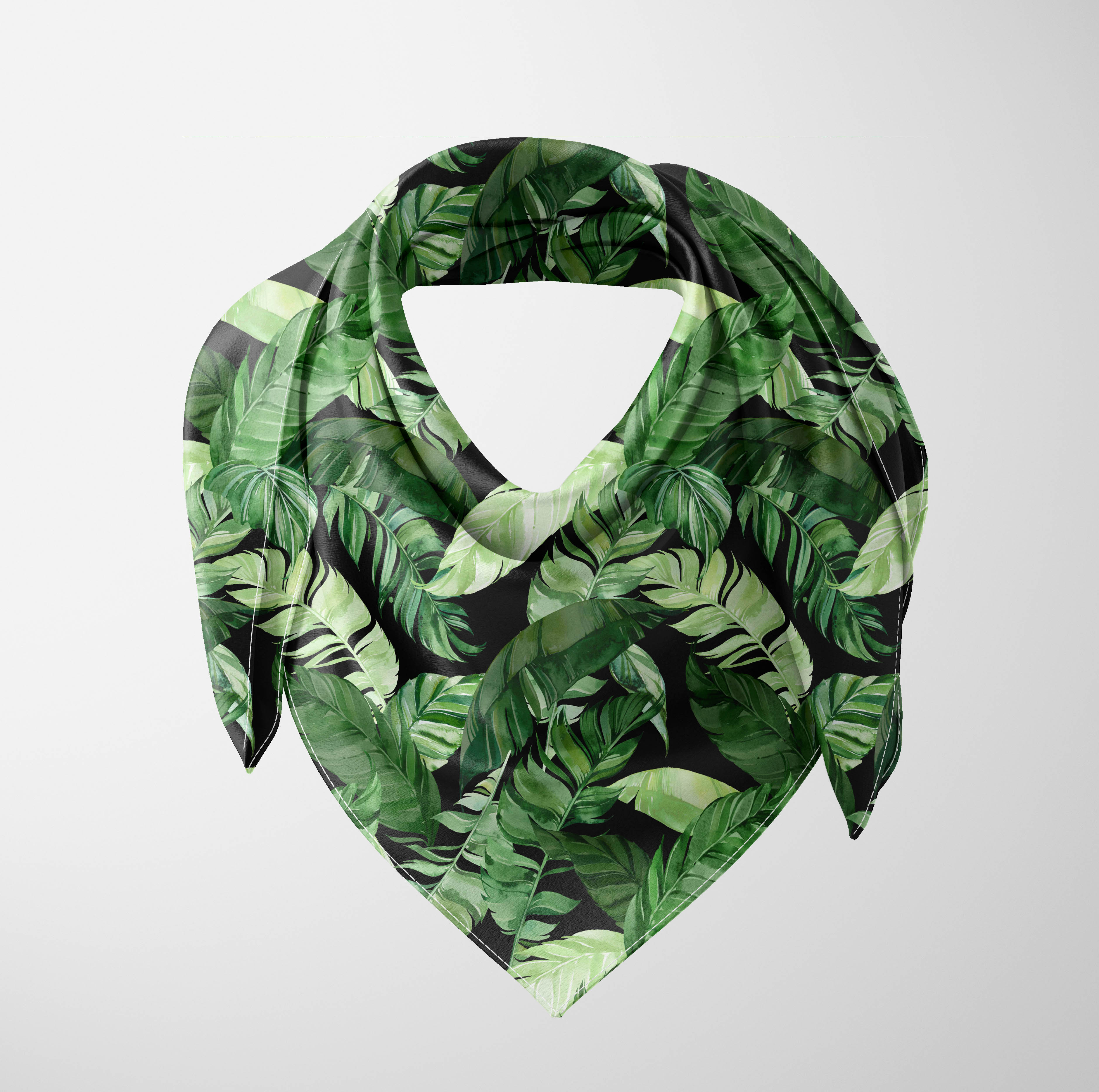 Else Black Green Jungle Tropical Leaves Floral 3d Printed Square Rayon Fabric Neck Head Floral Pattern Scarf Scarves Women Hijab