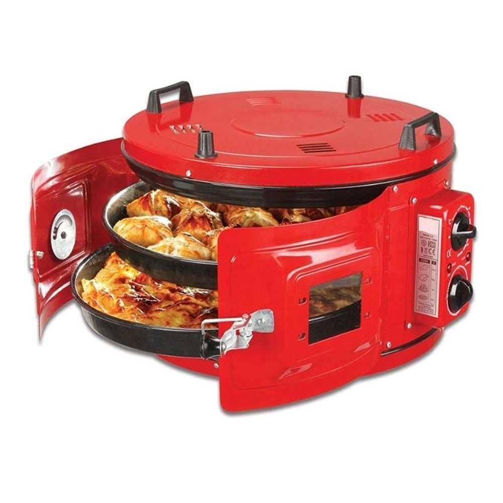 RED COLOR Commercial Round Countertop 220V Drum Oven Bakery Pastry Snack Cookie Roaster Pizza Multipurpose Oven 2xPan Included