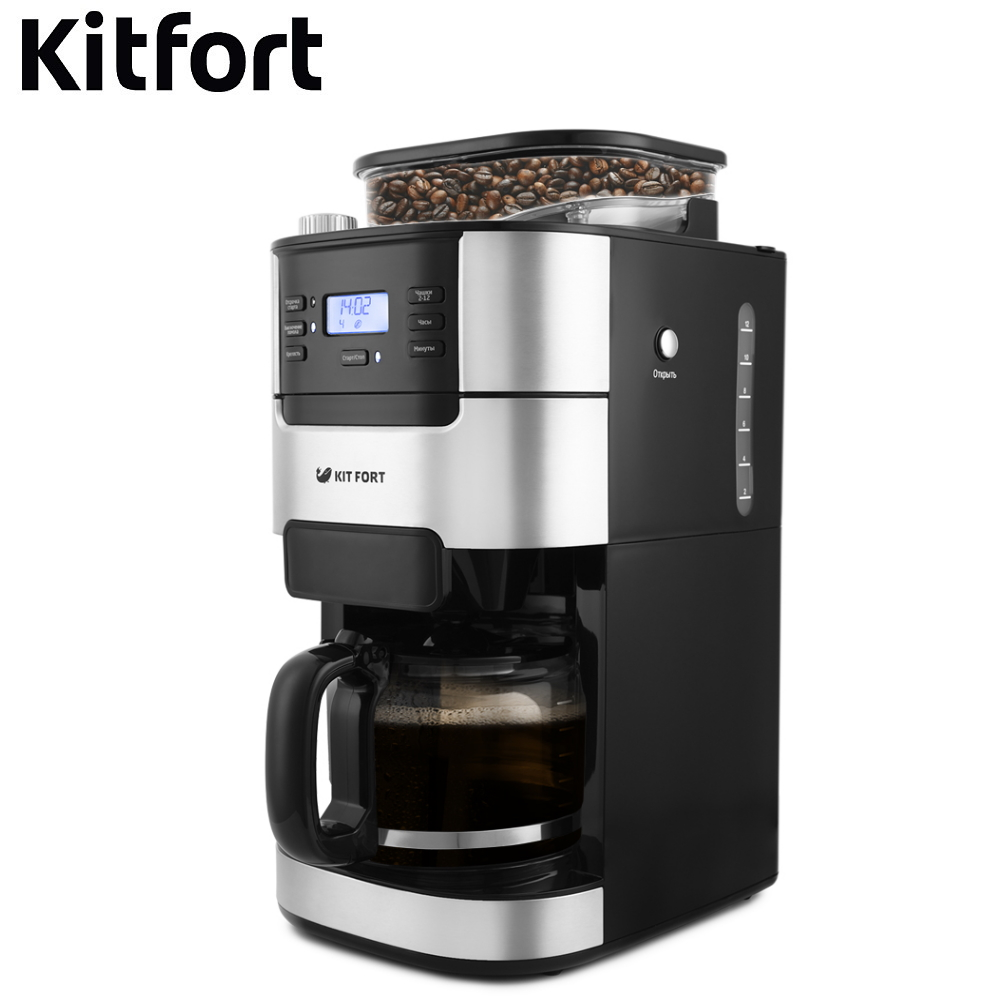 Coffee Machine Kitfort KT-720 Drip Coffee maker kitchen automatic Coffee machine drip espresso Coffee Machines Drip Coffee maker Electric drip espresso automatic portable coffee makers coffee grinder coffee