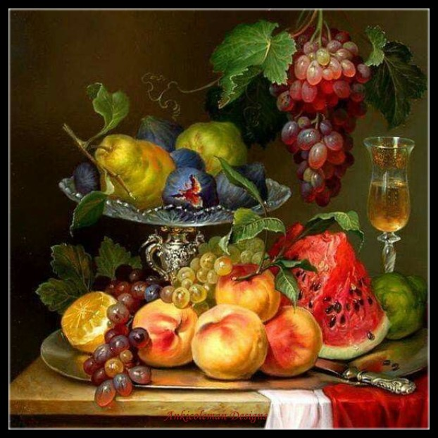 Needlework for embroidery <font><b>DIY</b></font> DMC High Quality - Counted Cross Stitch Kits 14 ct Oil painting - Still Life of Fruits <font><b>4</b></font> image