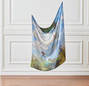 'Woman with a Parasol' Silk Scarf -  Claude Monet -  Madame Monet - Made in Turkey - %100 Silk Dignity Beauty Art Famous Artist