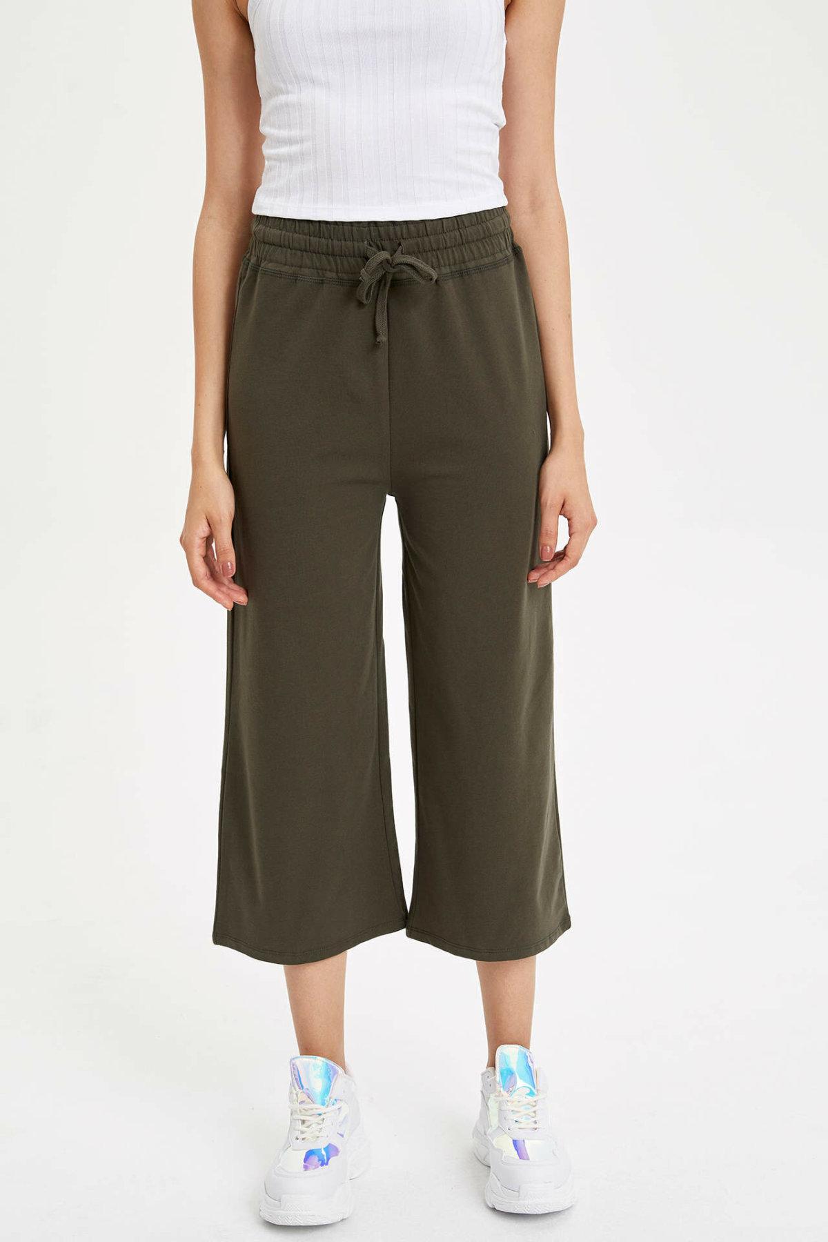 Women Summer Thin Knit Trousers Wide Leg Loose Pants Ankle Length Pants Casual Trouser Elastic Waist Pants K8592AZ19SM