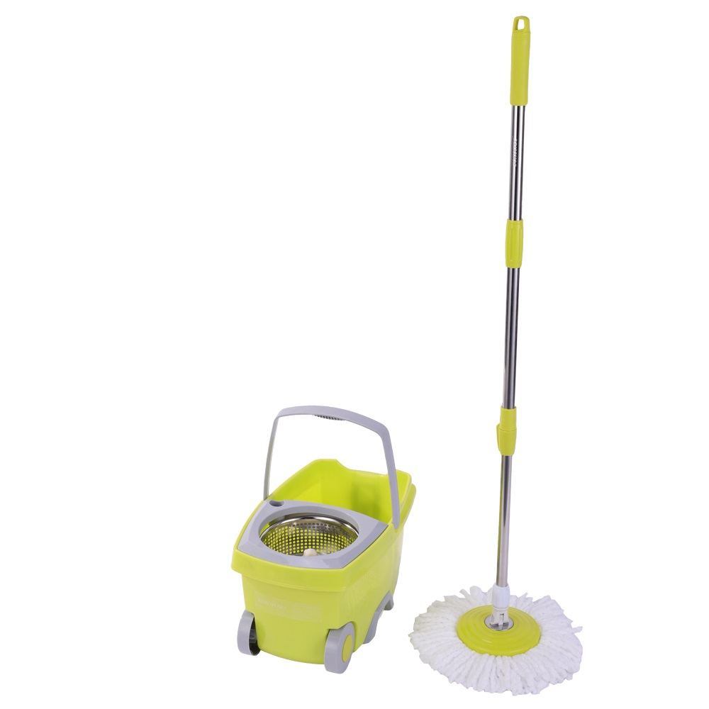SOKOLTEC Mop Bucket Hand Free Wringing Stainless Steel Mop Self Wet And Cleaning System Dry Cleaning Microfiber Magic Mop Spin