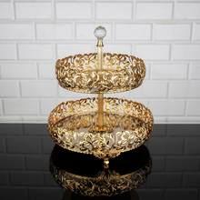 Bandeja de servicio de lujo, 2 niveles, PLACA DE SERVICIO DE 2 pisos, dorado, plateado, redondo, turco, árabe, Oriental