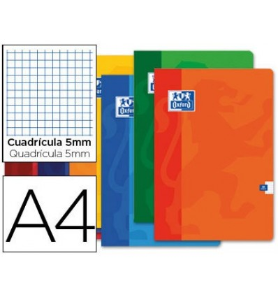 SCHOOL NOTEBOOK OXFORD 48 H DIN A4 TABLE 5 MM ASSORTED COLORS 10 PCs