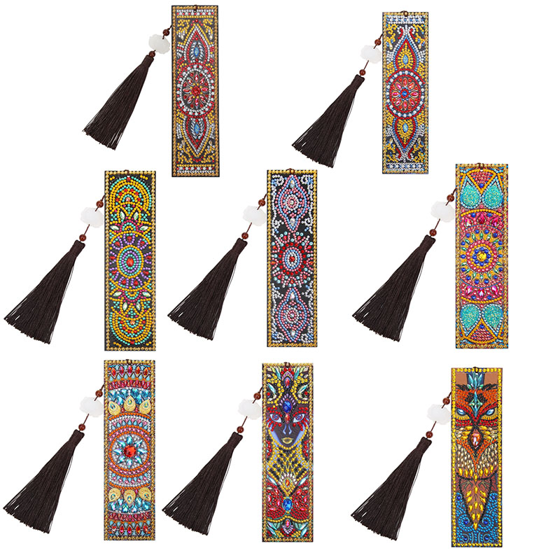 Reading Enthusiasts DIY Special Shaped Diamond Painting Leather Bookmark Tassel Book Marks Gifts Personalized Ornaments Dropship