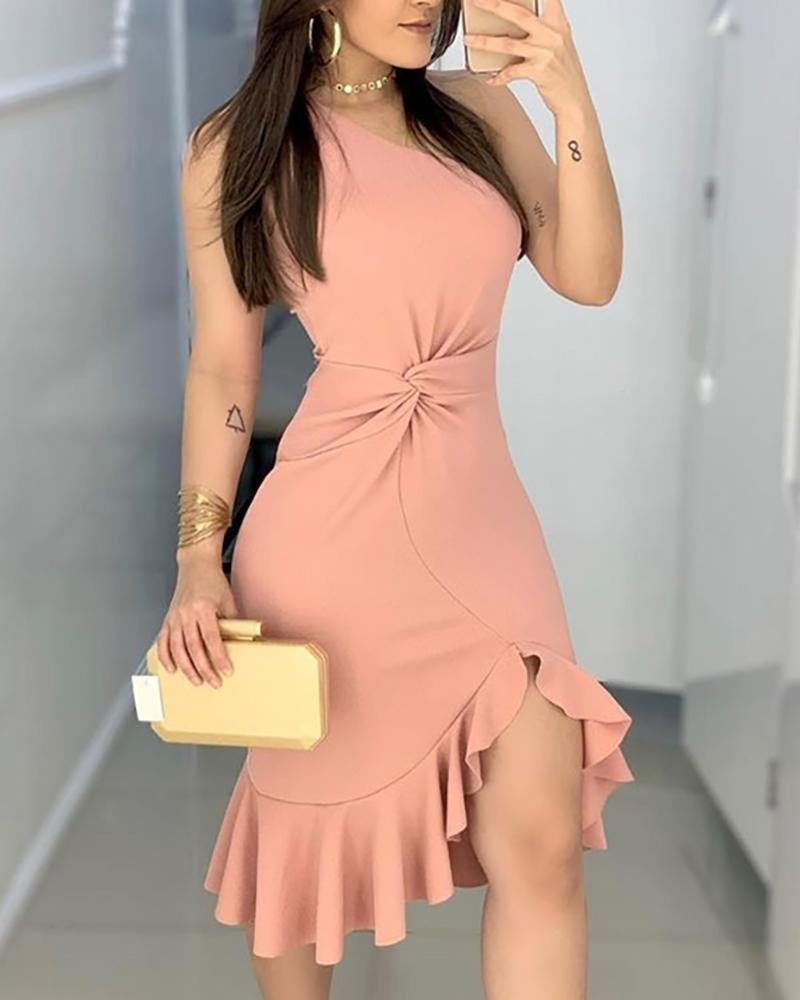 2020 Women Fashion Elegant Lady Dress Party Sweet Workwear Dress Casual One Shoulder Waist Twisted Ruffles Hem Dress