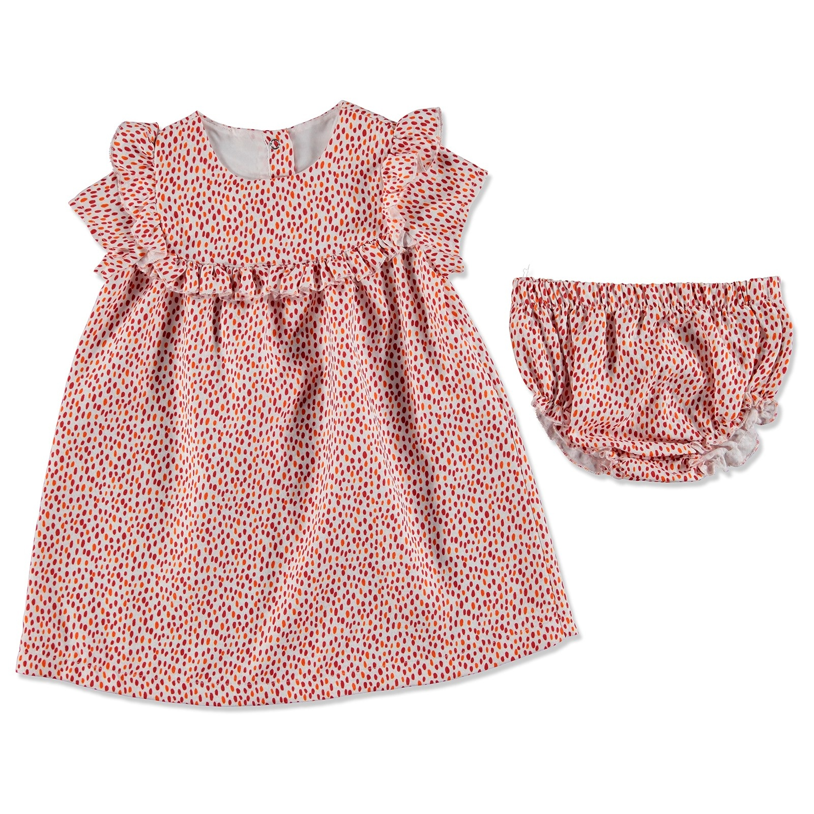 Ebebek Bombili Summer Baby Girl Gabardine Crew-Neck Dress