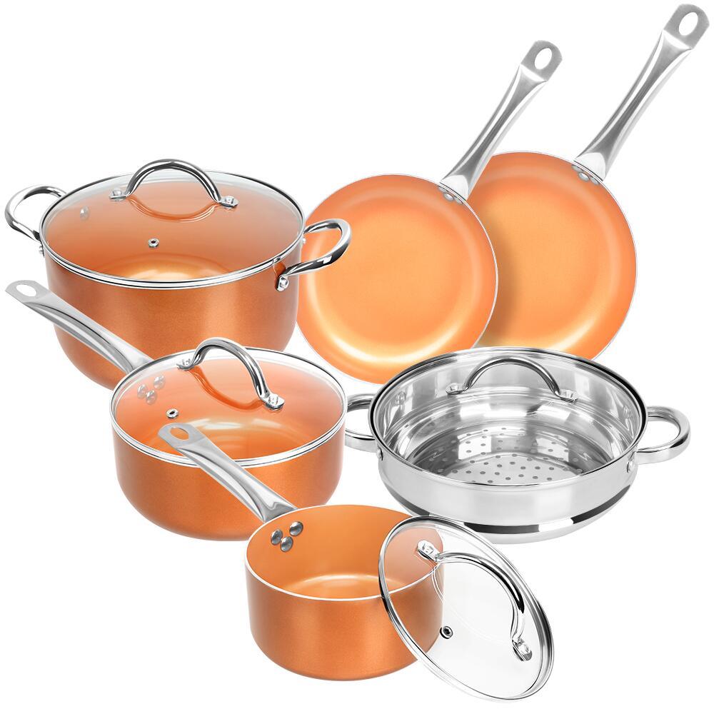 10 pièces batterie de cuisine ensemble casseroles en cuivre et ensemble de poêles Induction antiadhésive Chef poêle frire Sauce vapeur revêtement en céramique Pot de cuisine