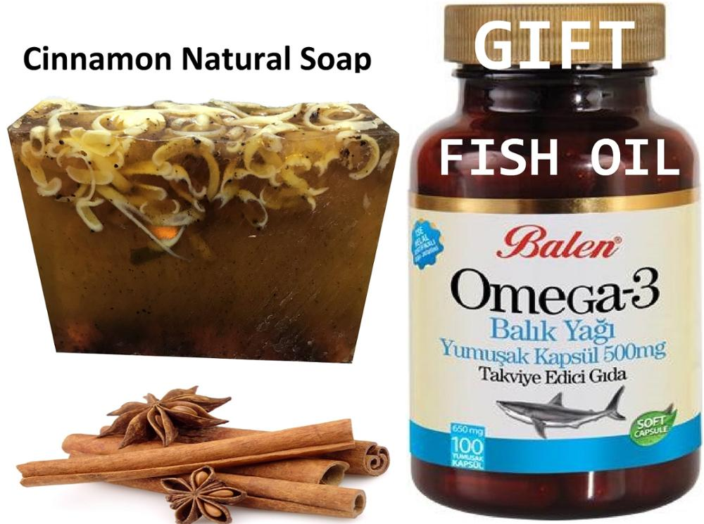 Anti Acne Cinnamon Natural Handmade Soaps 100 Gr+ Gift Omega 3 Fish Oil Perfect For Health Eye Inflammation Sleep For Skin 100cp