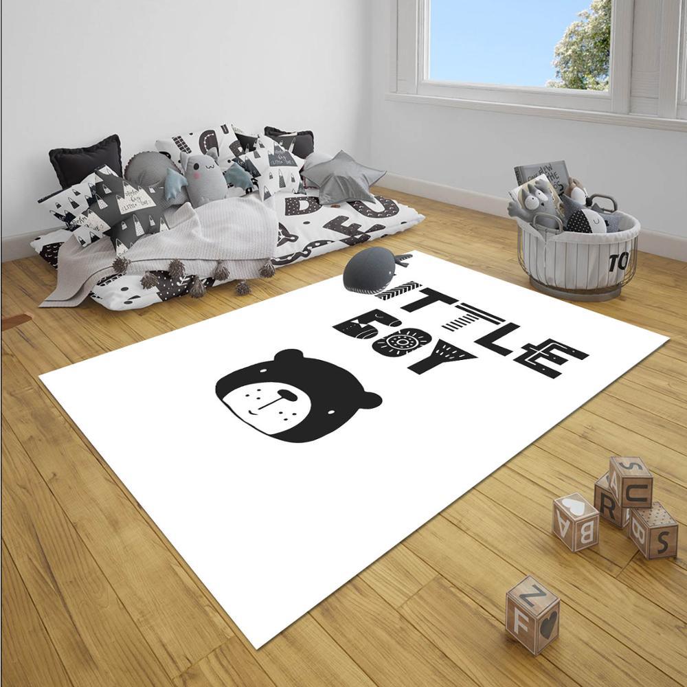 Else Black White Little Boy Writen Bears  Boy 3d Print Anti Slip Microfiber Children Baby Kids Room Decorative Area Rug Mat