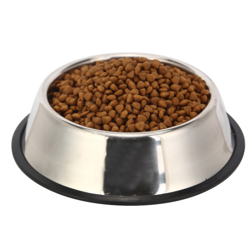 Dog Bowl Plate Stainless Steel Gamelle Chien Comedero Perro Metal Pet Puppy Food Water Drinking Big Bowls For Dogs+Anti Slip Pad