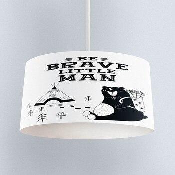 Else Black White Brave Man Bear Scandinavian Print Fabric Kids Chandelier Lamp Drum Lampshade Floor Ceiling Pendant Light Shade
